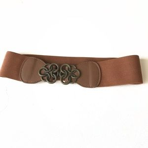 Brown Fabric Belt Dark Gray Circles Buckle